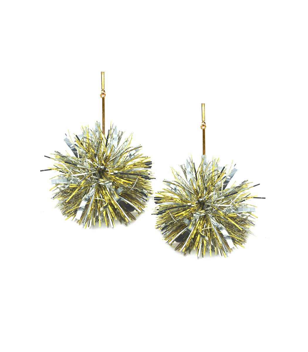 """TULESTE 4"""" Gold And Silver Lurex Pom Pom Earrings in Gold/Silver"""