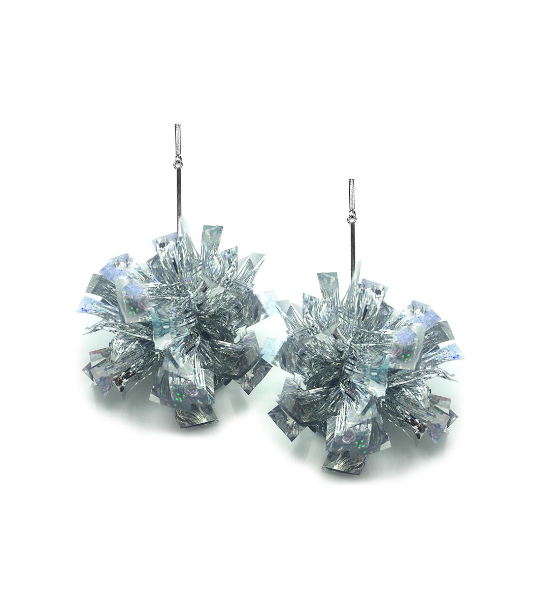 """TULESTE 4"""" Silver Lurex Pom Pom Earrings"""