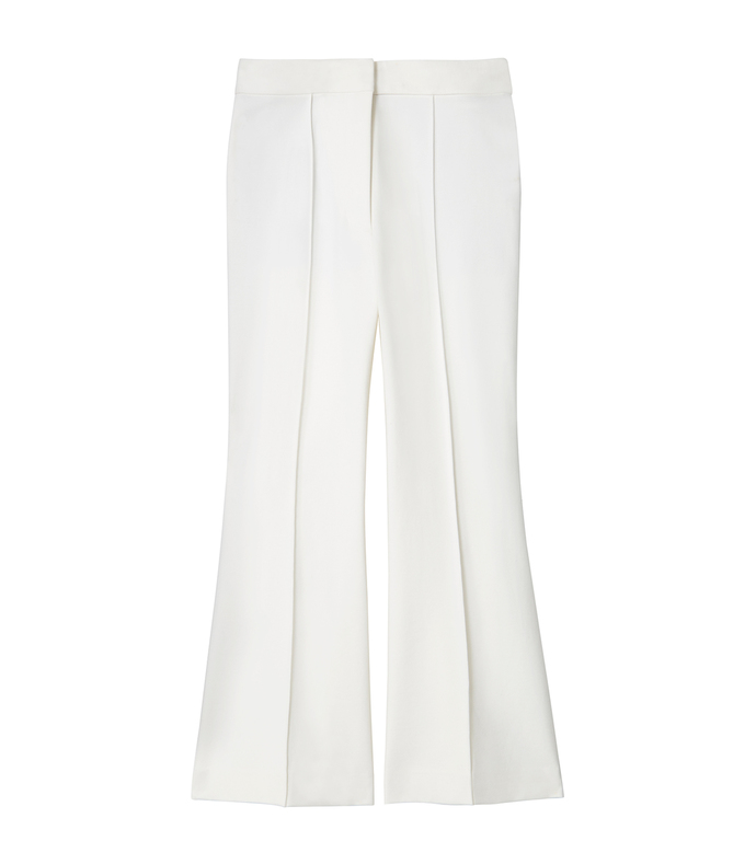 white 'ponte' cropped boot cut pant