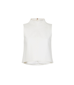 white 'ponte' funnel neck top