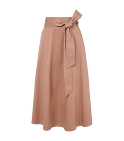 beige satin poplin wrap skirt