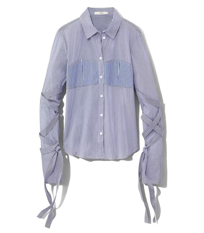 blue stripe strap shirt