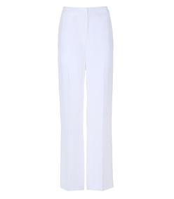 white silk straight leg pant
