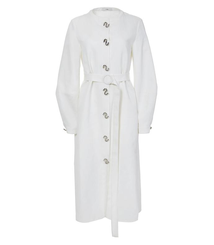 ivory chassis lantern sleeve dress
