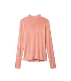 peachy pink claire seamless turtle neck pullover