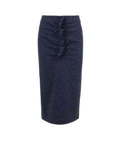 navy melange imogen tweed ruffle shift skirt