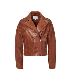 cognac oversized leather moto jacket