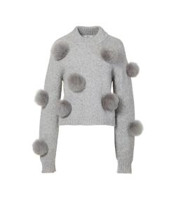 heather grey alpaca pom pom cropped sweater