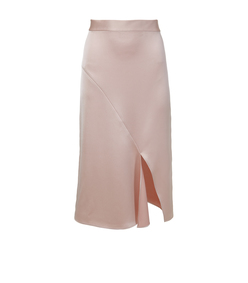 blush celestia satin draped pencil skirt