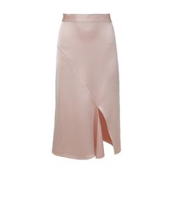 blush celestia satin draped pencil skirt