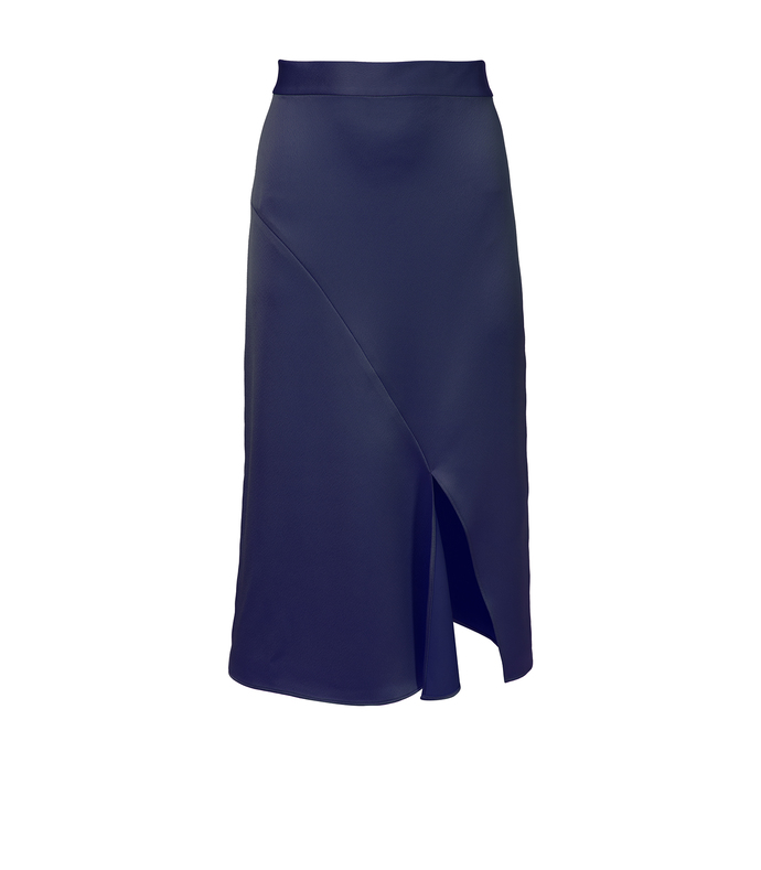 navy celestia satin draped pencil skirt