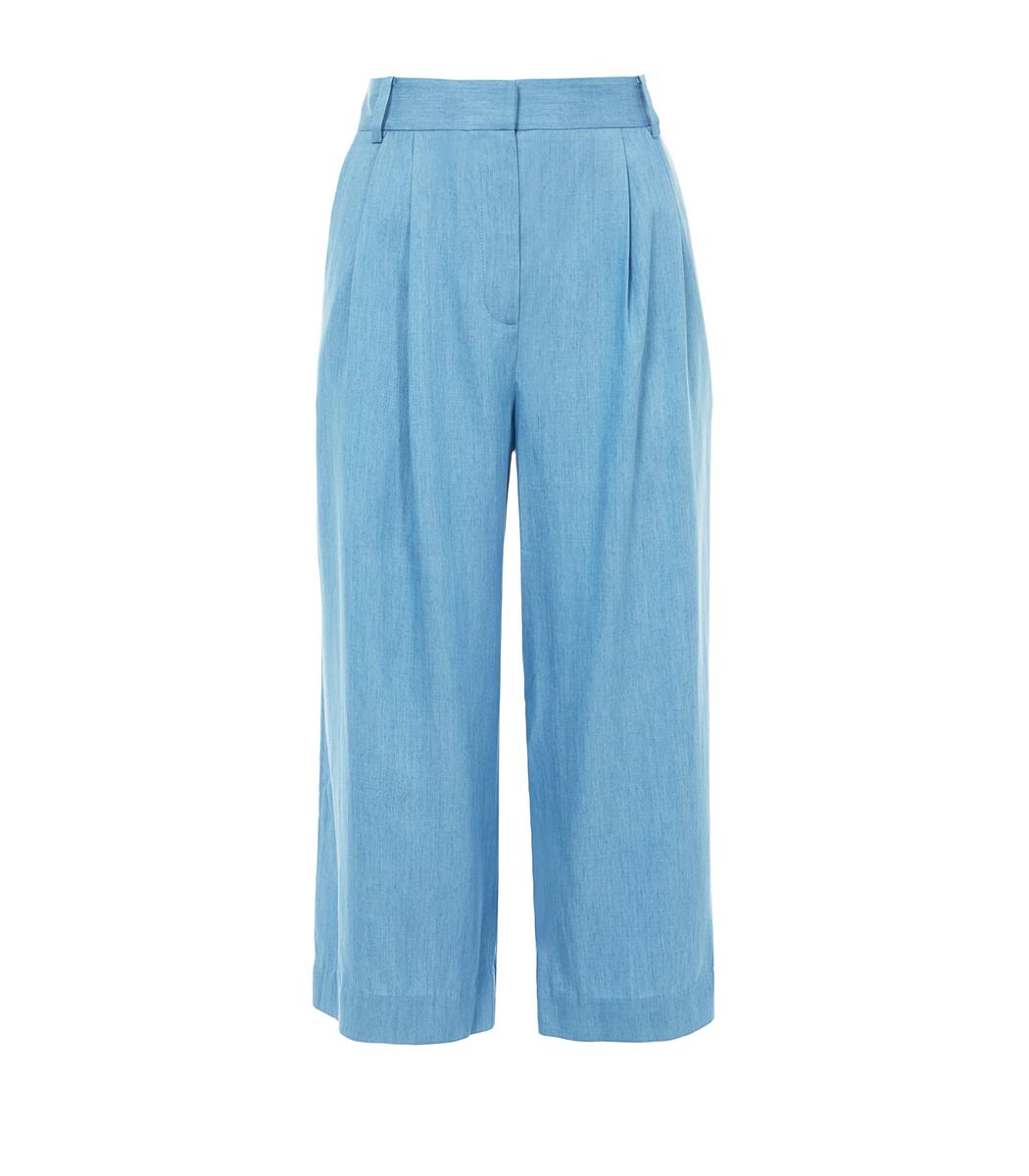 Light Denim Chambray Cropped Pleat Pants