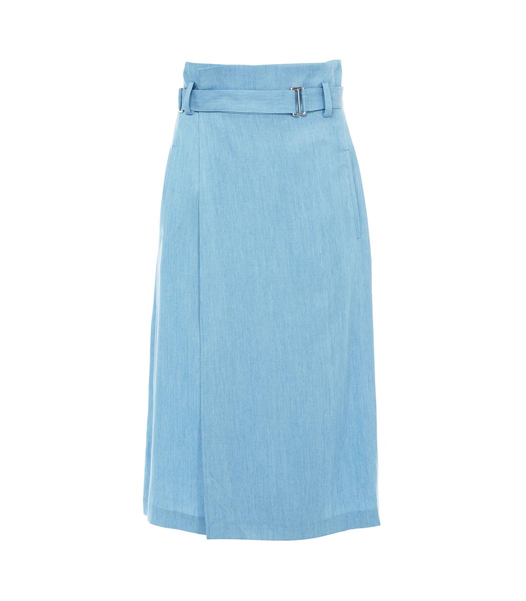 Tibi Light Denim Chambray Wrap Skirt