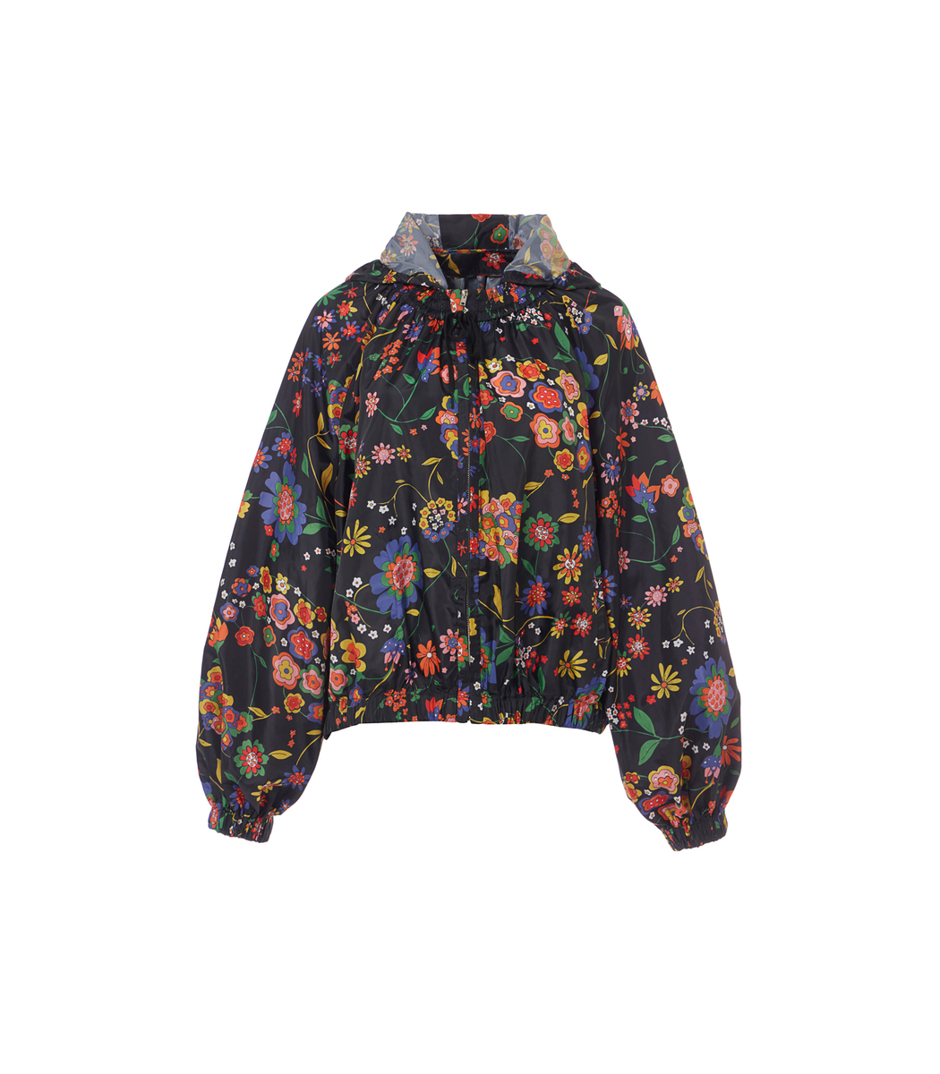 Navy Multi Tech Floral Jacket with Detachable Hood