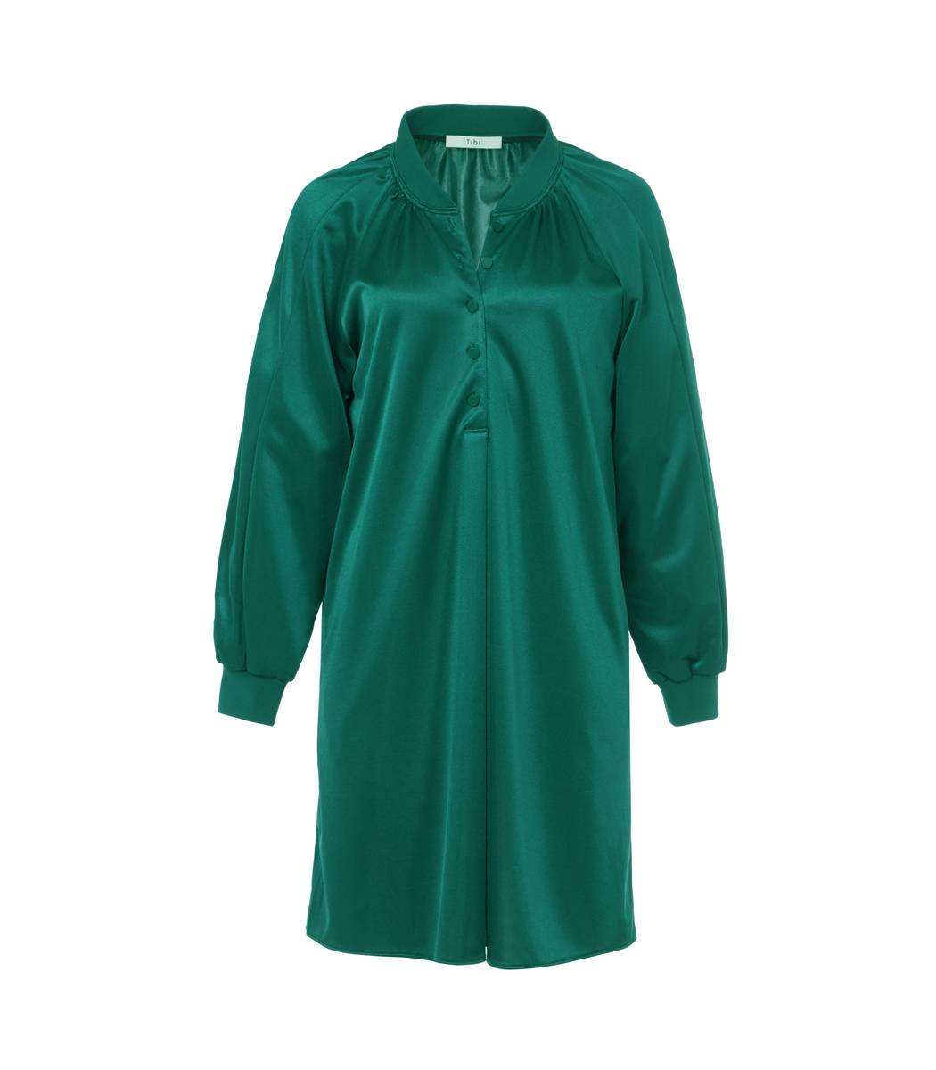Dark Green Tech Pique Raglan Dress