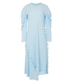 baby blue crepe knit ruched sleeve ruffle dress