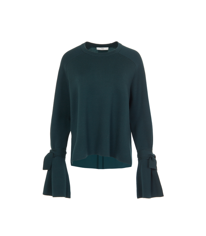dark green merino wool silk combo sweater