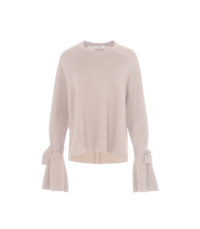 pale blush merino wool silk combo sweater