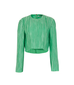 kelly green plissé crop top