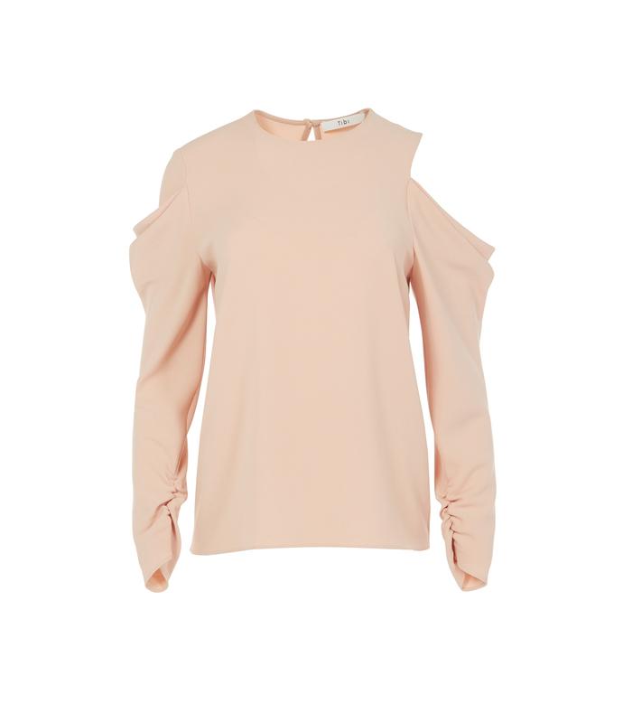 light pink triacetate open shoulder drape sleeve top