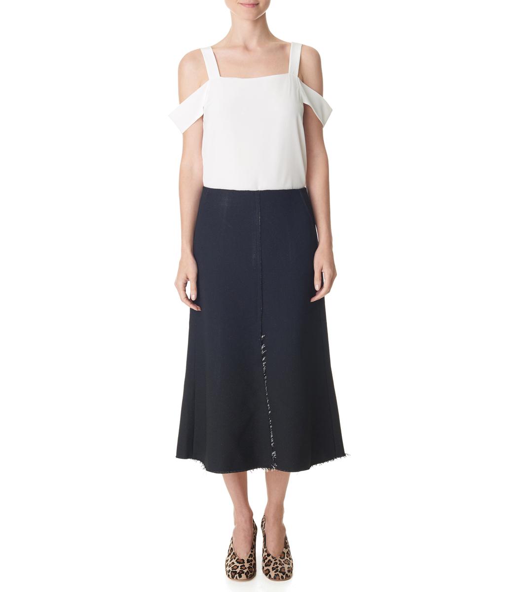 Tibi Double Crepe Sable Flared Skirt - Fluted Midi Skirt