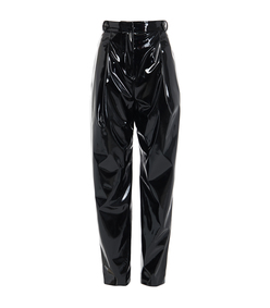 black patent sculpted pleat pants