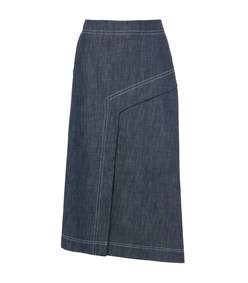 raw denim draped skirt