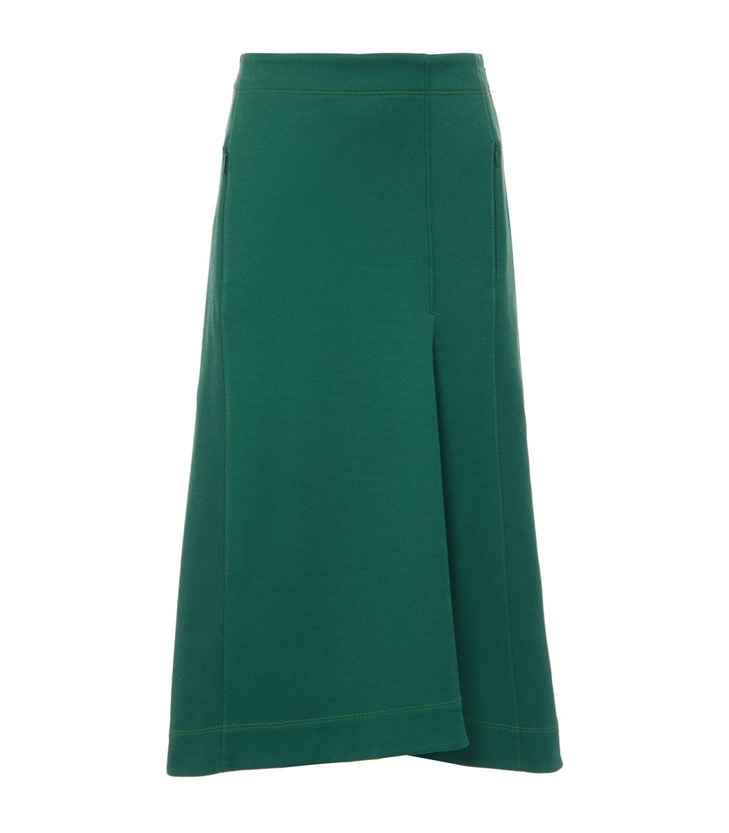 Tibi Cottons Dark Green Stretch Cavalry Twill Sculpted Skirt