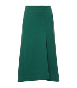 dark green stretch cavalry twill sculpted skirt