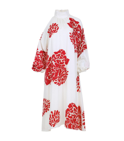 ivory & red 'orla bloom' asymmetrical dress