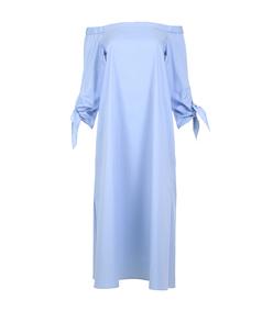 blue poplin off-shoulder midi dress