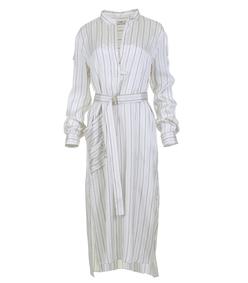 ivory striped shirt dress