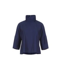washed indigo dolman top