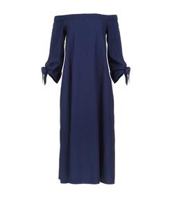 blue off-shoulder dress
