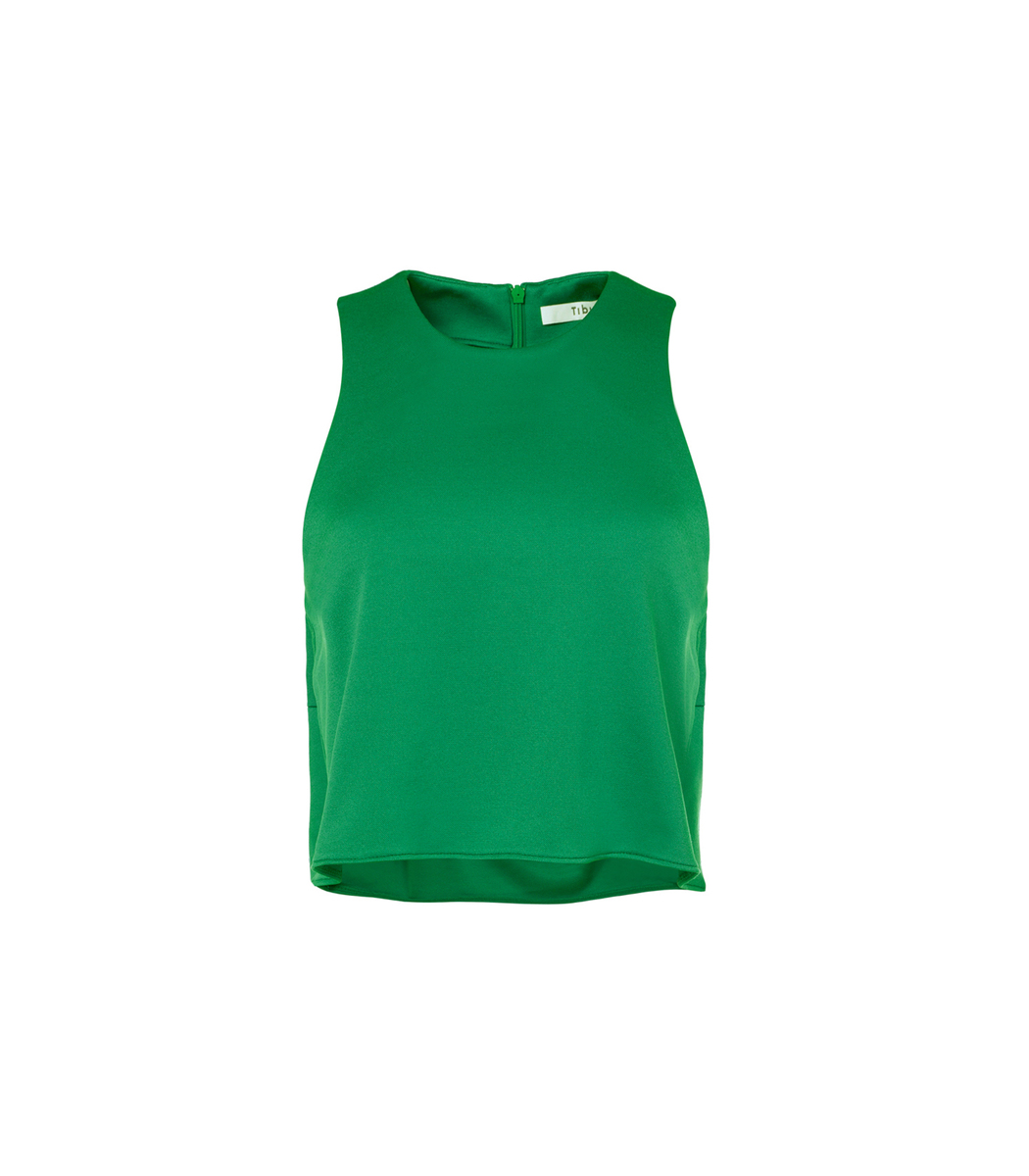Green Astor Knit Cropped Tank