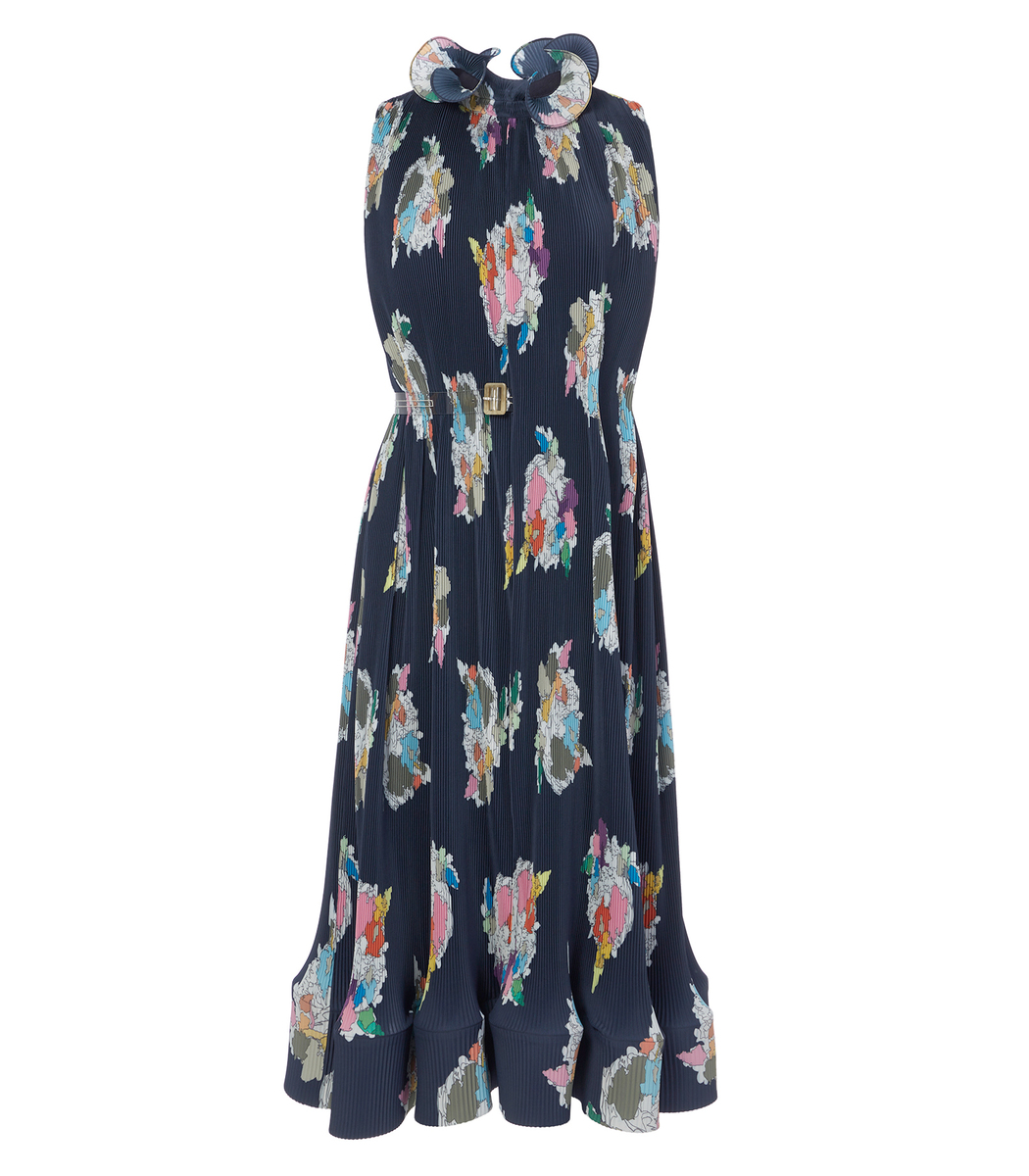 Tibi Dresses Navy Multi Pleated Camellia Sleeveless Dress