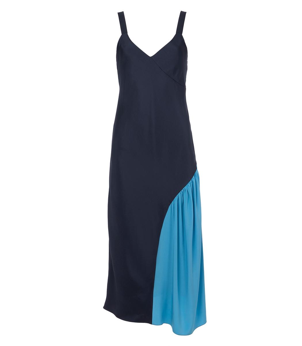 Tibi Woman Draped Satin Slip Dress Navy Size 12 Tibi Spq1U18