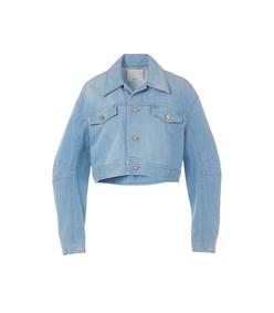 blue vintage stone wash denim cropped jacket