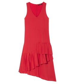 ShopBazaar Tibi Red Asymmetrical Ruffle Dress MAIN