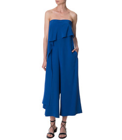 ShopBazaar Tibi Silk Draped Jumpsuit FRONT