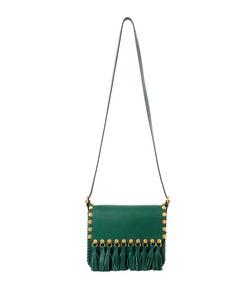 ShopBazaar Valentino Green Tassel Saddle Bag MAIN