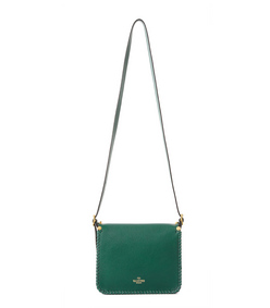 ShopBazaar Valentino Green Tassel Saddle Bag FRONT
