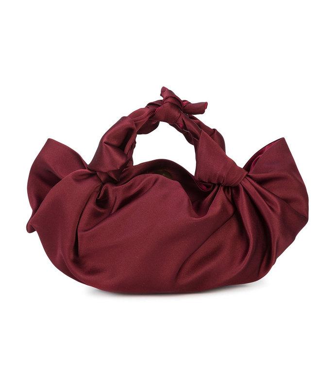 burgundy small ascot handbag