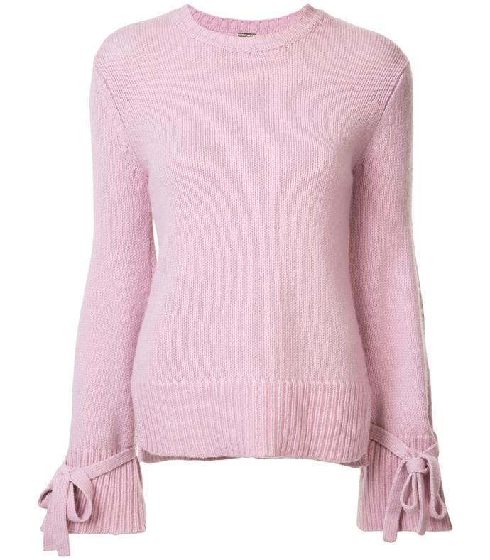 pink tie cuff sweater