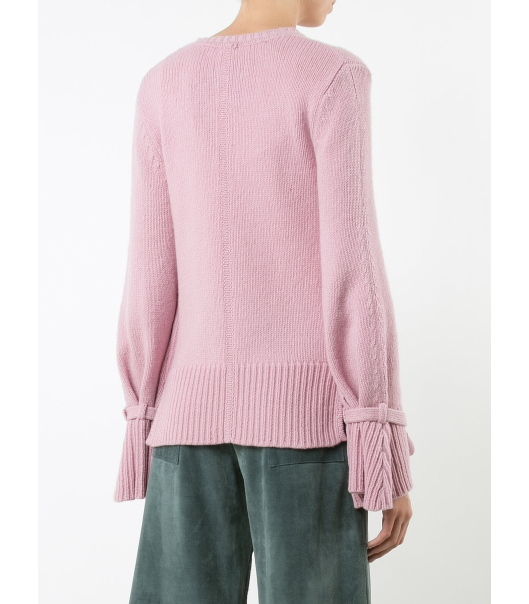 Adam Lippes Tie Cuff Sweater - Pink Crew Neck Sweater