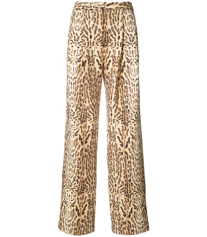 leopard ocelot printed pleat front pants