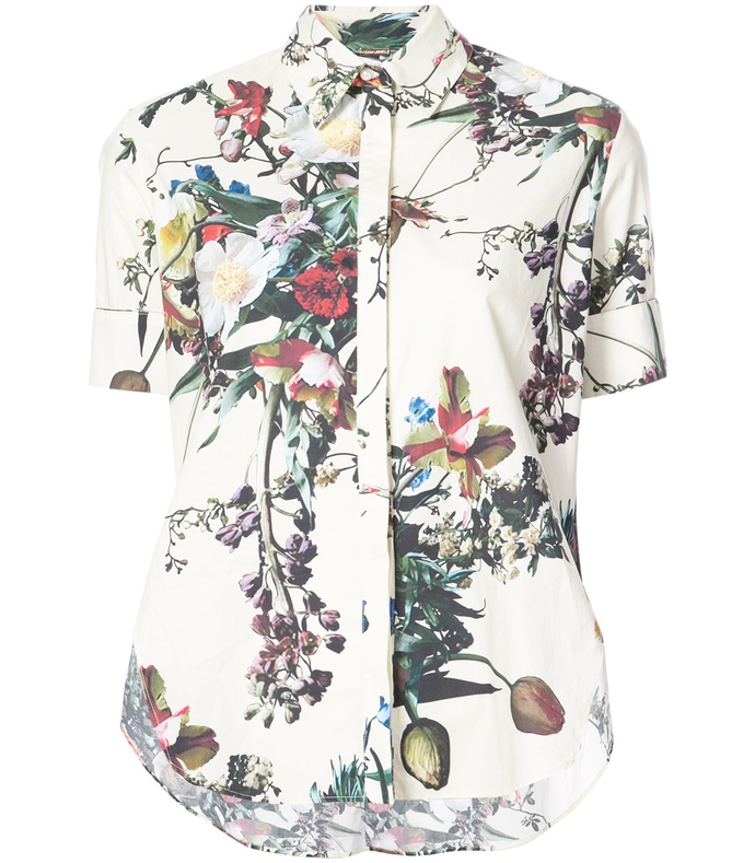 ivory multi flared floral print shirt