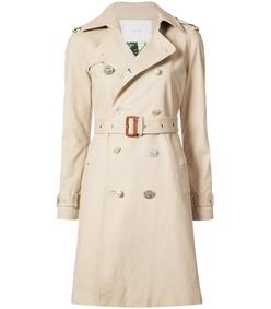 khaki embellished button trench coat