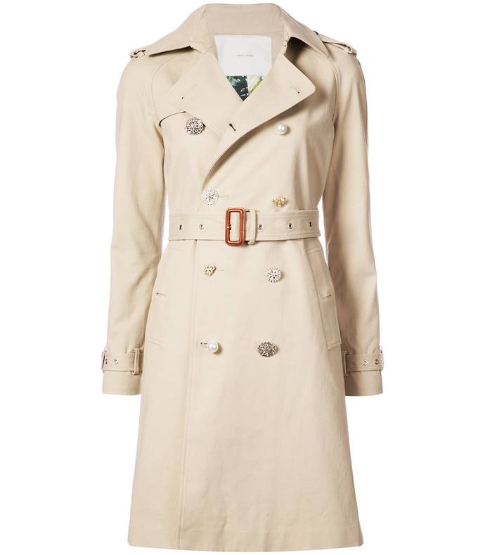 khaki embellished button trench coat