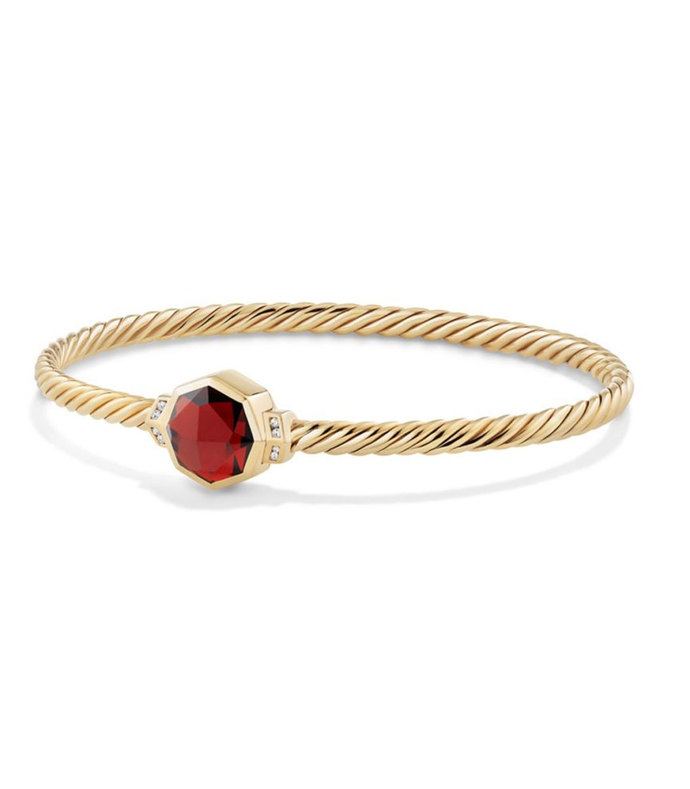 guilin octagon bracelet with garnet and diamonds in 18k gold